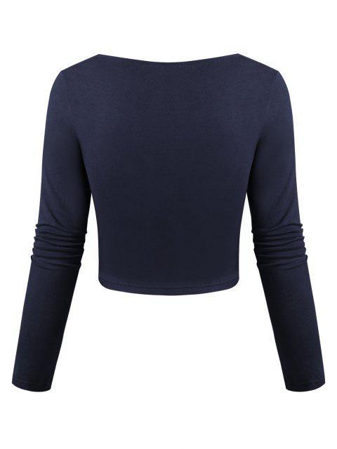 Chinesisches Opernmasken Druckhemd in Chinesisch und Farbblock Crop T-Shirt - Tiefes Blau S Mobile