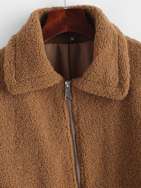 women's Zip Up Front Pockets Borg Teddy Jacket - COFFEE L Mobile