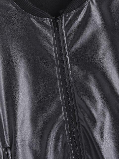 Veste Zippée à Doublure en Laine en Faux Cuir - Noir S Mobile
