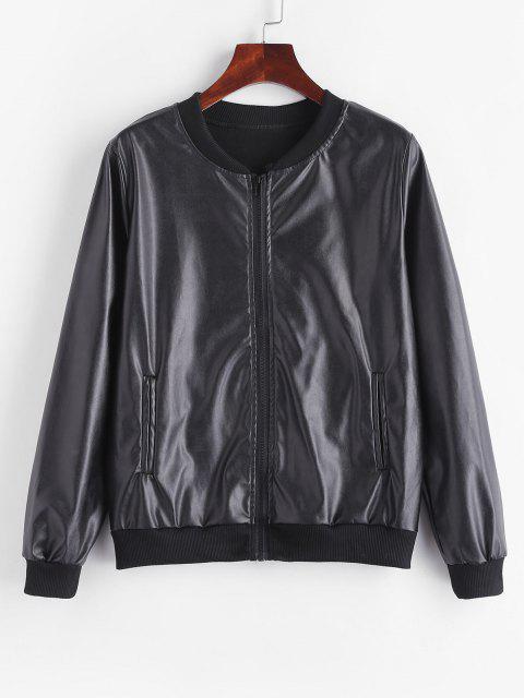 Fleece Lined Faux Leather Zip Jacket - أسود S Mobile