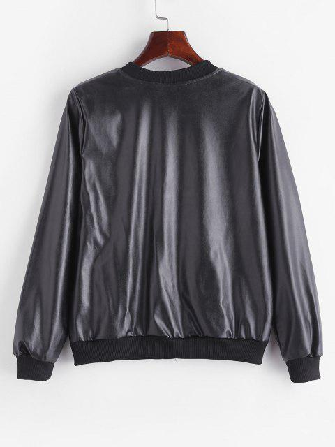womens Fleece Lined Faux Leather Zip Jacket - BLACK M Mobile
