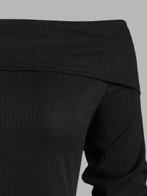 latest Off Shoulder Ribbed Peplum Hem Combo Top - BLACK S Mobile