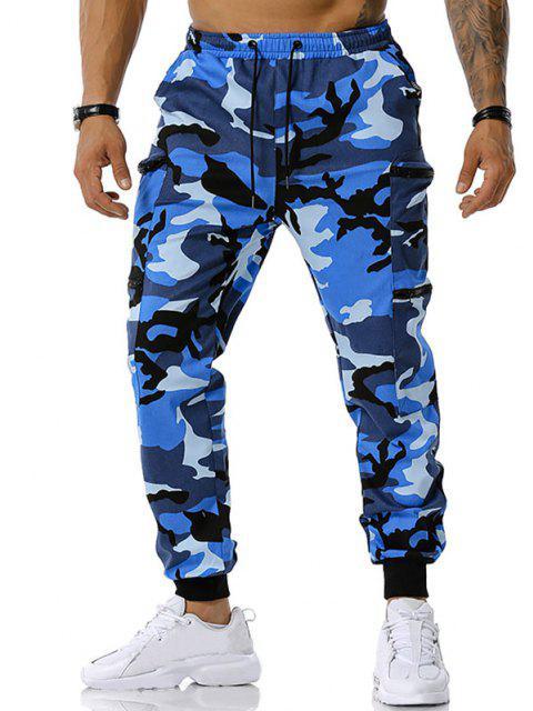 Camouflagedruck Reißverschluss Taschen Cargo Hose - Blau S Mobile