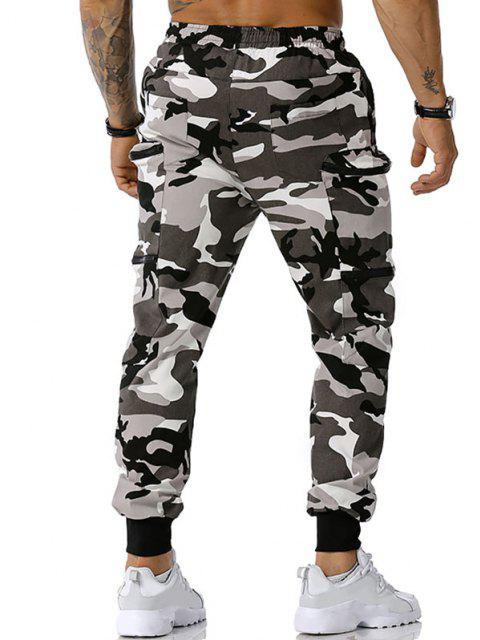 Camouflagedruck Reißverschluss Taschen Cargo Hose - Grau M Mobile