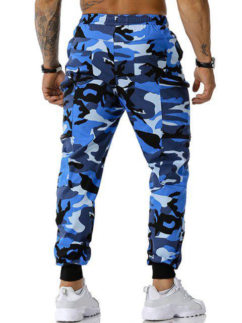 Camouflagedruck Reißverschluss Taschen Cargo Hose - Blau M Mobile