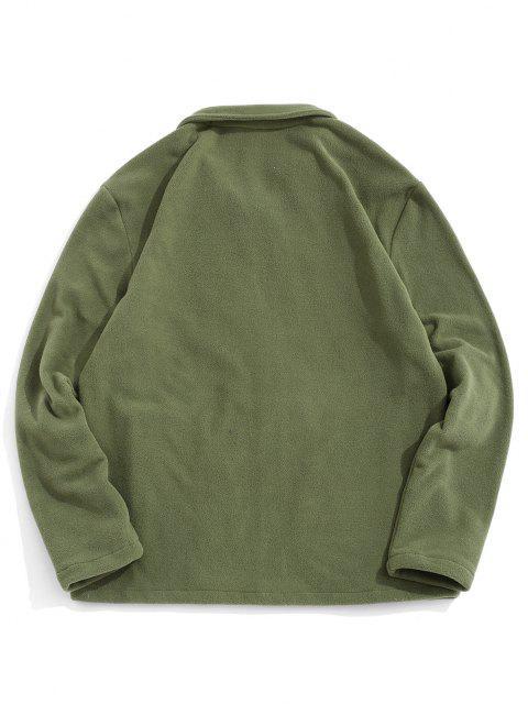 ジップアップ折り襟ホッキョクフリースジャケット - アーミーグリーン XL Mobile