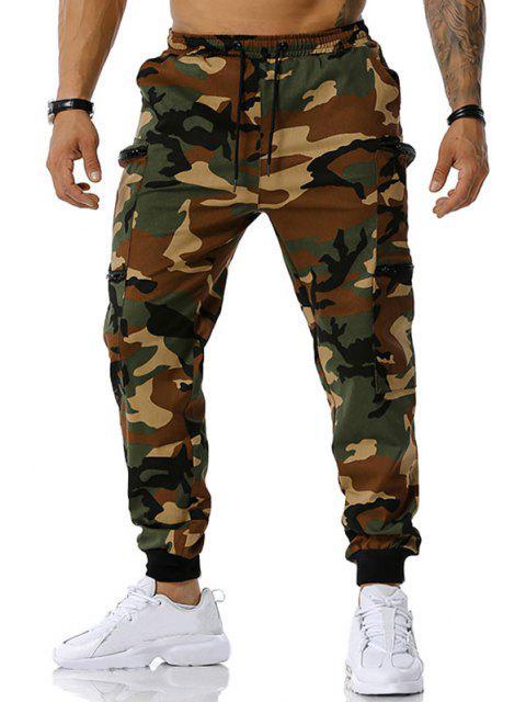 Camouflagedruck Reißverschluss Taschen Cargo Hose - Armeegrün M Mobile