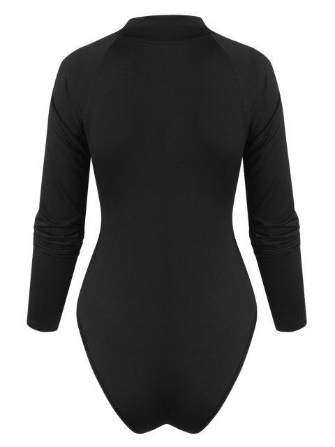 Body Combinaison à Manches Raglan à Demi-Zip - Noir M Mobile