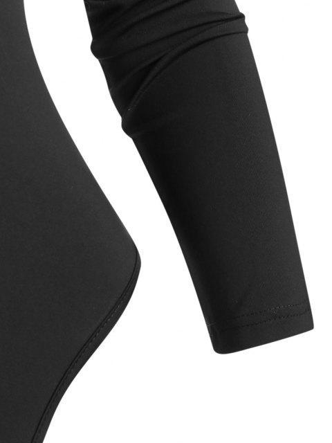 womens Snap Crotch Half Zip Raglan Sleeve Bodysuit - BLACK S Mobile