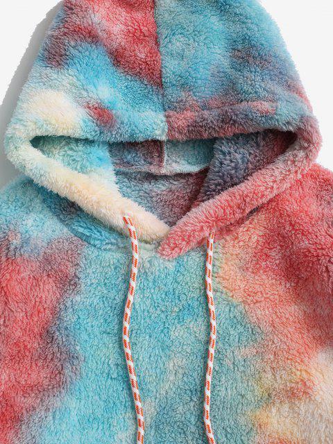ladies Kangaroo Pocket Tie Dye Faux Fur Fluffy Hoodie - RED 2XL Mobile