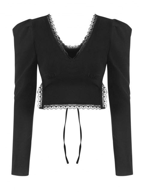 hot Lace Trim Puff Sleeve Tie Back Crop Top - BLACK M Mobile