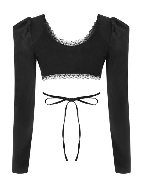 affordable Lace Trim Puff Sleeve Tie Back Crop Top - BLACK S Mobile