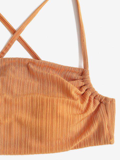women's ZAFUL Textured Ribbed Crisscross Back Tanga Bikini Swimwear - DEEP YELLOW S Mobile