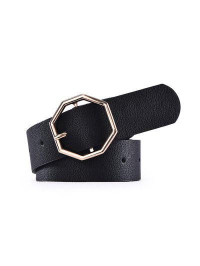 PU Rhombic Buckle Belt - Black