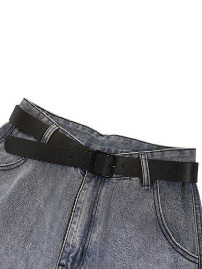 PU Square Buckle Belt Jeans - Black