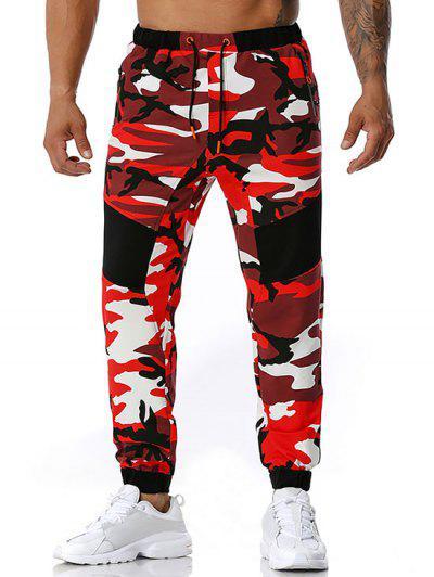 Camouflage Print Zipper Pockets Sports Pants - Red Xl