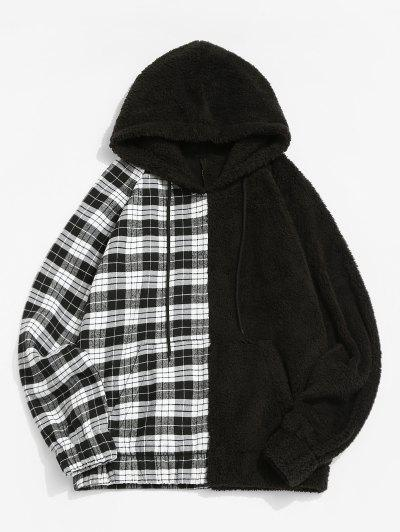 Raglan Sleeve Contrast Plaid Fluffy Hoodie - Black S