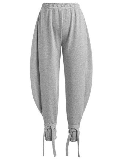 Tie Cuffs French Terry Baggy Sweatpants - Gray L