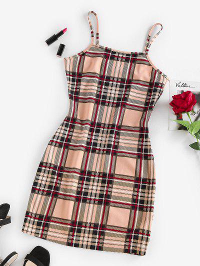 ZAFUL Plaid Bodycon Mini Dress - Light Coffee L