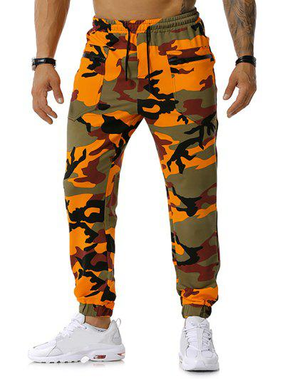 Zipper Pockets Camouflage Print Jogger Sports Pants - Orange S