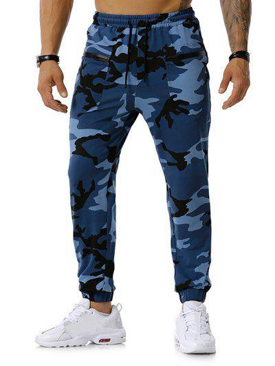 Zipper Pockets Camouflage Print Jogger Sports Pants - Denim Blue M
