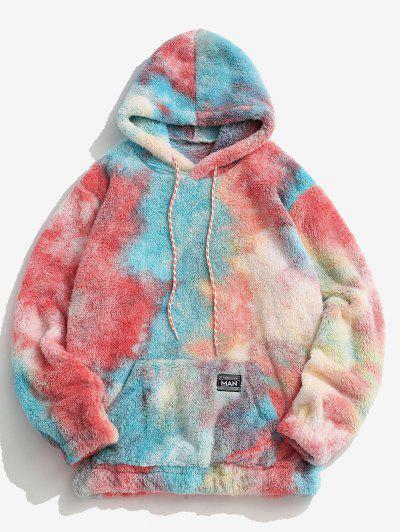 Kangaroo Pocket Tie Dye Faux Fur Fluffy Hoodie - Red S