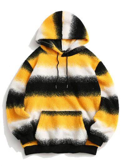 Front Pocket Colorblock Stripes Teddy Hoodie - Yellow L