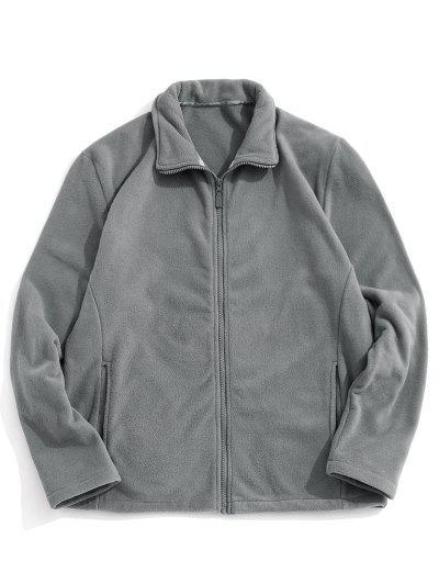 Zip Up Turndown Collar Polar Fleece Jacket - Dark Gray M
