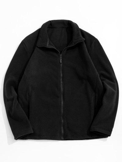 Zip Up Turndown Collar Polar Fleece Jacket - Black Xl
