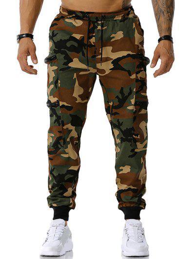 Pantaloni Cargo A Camuffamento Con Tasche E Cerniera - Verde Dell'esercito Xxl