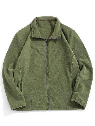 Zip Up Turndown Collar Polar Fleece Jacket - Army Green L