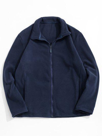 Zip Up Turndown Collar Polar Fleece Jacket - Cadetblue L