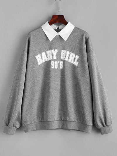 Flat Collar French Terry Baby Girl Graphic Sweatshirt - Dark Gray Xl