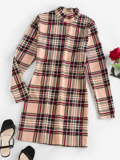 ZAFUL Plaid Mock Neck Mini Bodycon Dress - Light Coffee S