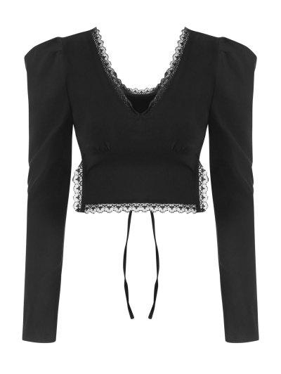 Lace Trim Puff Sleeve Tie Back Crop Top - Black S