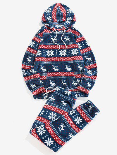ZAFUL Christmas Snowflake Elk Pattern Fluffy Hoodie And Pants Two Piece Set - Cobalt Blue S