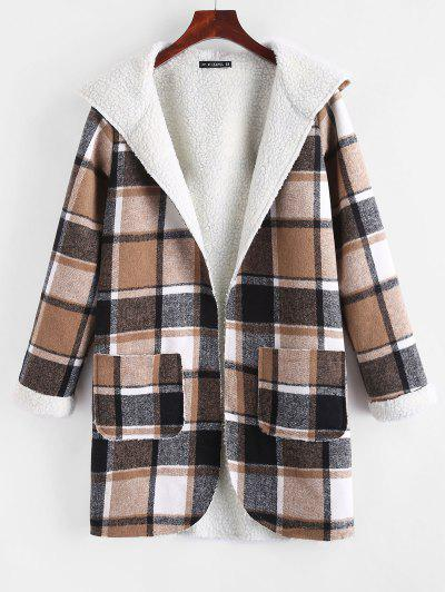 Open Front Pockets Plaid Faux Shearling Coat - Coffee M