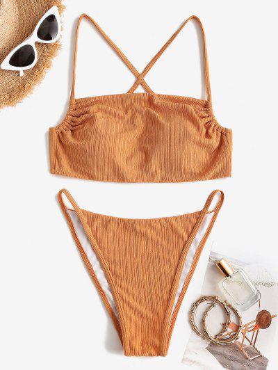 ZAFUL Textured Ribbed Crisscross Back Tanga Bikini Swimwear - Deep Yellow S