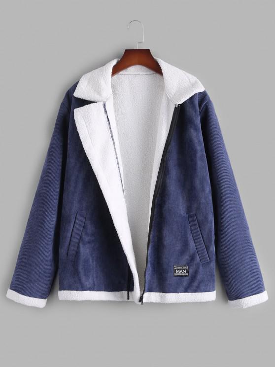 Applique Detail Contrast Corduroy Fleece Jacket - ازرق غامق L