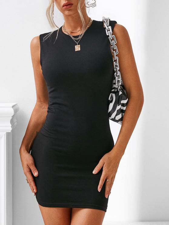 women's Shoulder Pad Keyhole Back Tank Dress - BLACK M