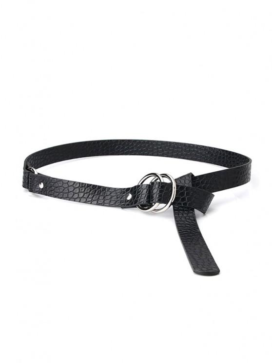 outfits Stone Grain Rings Buckle Belt - BLACK
