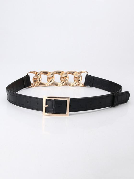 shop Layered Chain Joint Buckle Belt - BLACK