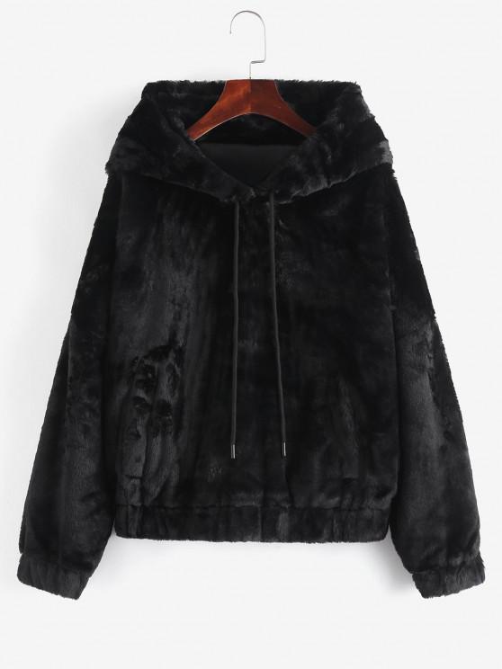 Pockets Fuzzy Faux Fur Hoodie Coat - أسود S