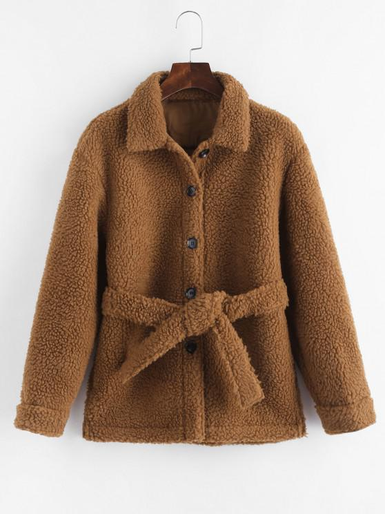 fashion Faux Shearling Belted Pocket Teddy Jacket - COFFEE XS