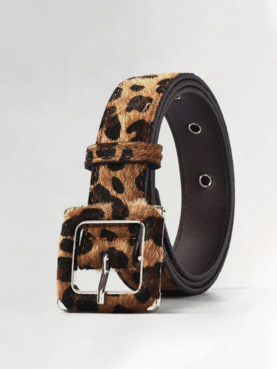 unique Leopard Print Fuzzy Buckle Belt - LEOPARD