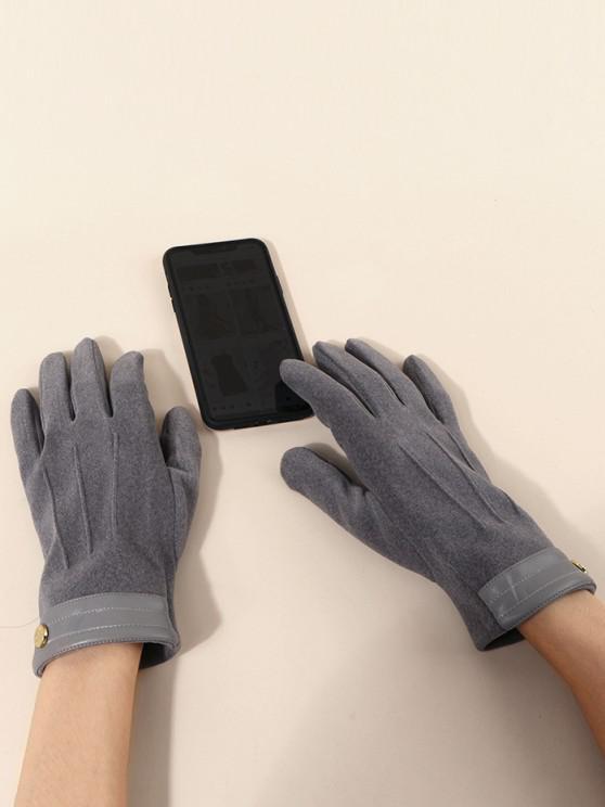 women Button Solid Slip On Gloves - SMOKEY GRAY