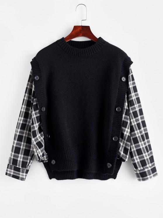 Suéter longilíneo com ombro caído extra grande mangas longas - Preto Um Tamanho