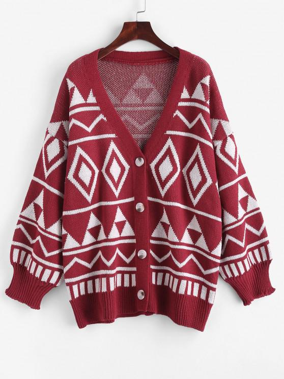 trendy Button Up Geo Graphic Oversize Cardigan - RED ONE SIZE
