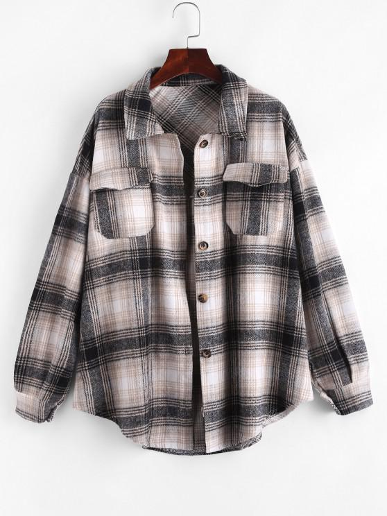 fashion Plaid Flannel Shacket - MULTI S