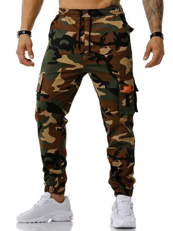 Camouflage Print Text Applique Cargo Pants - الجيش الأخضر L